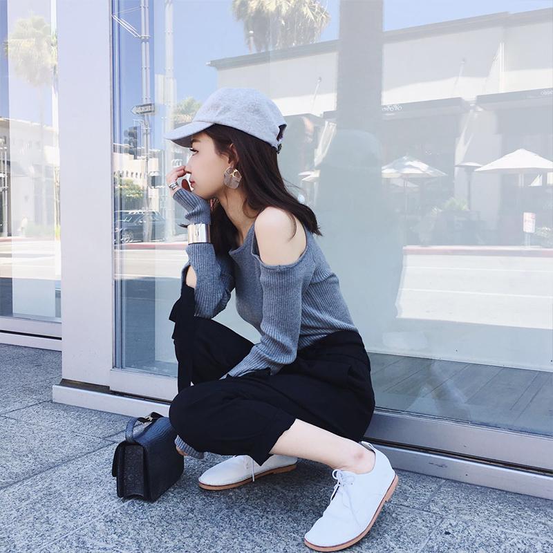 打底针织衫 2016秋季韩版学生袖口系带修身露肩打底针织衫女套头长袖薄款上衣_推荐淘宝好看的女打底针织衫