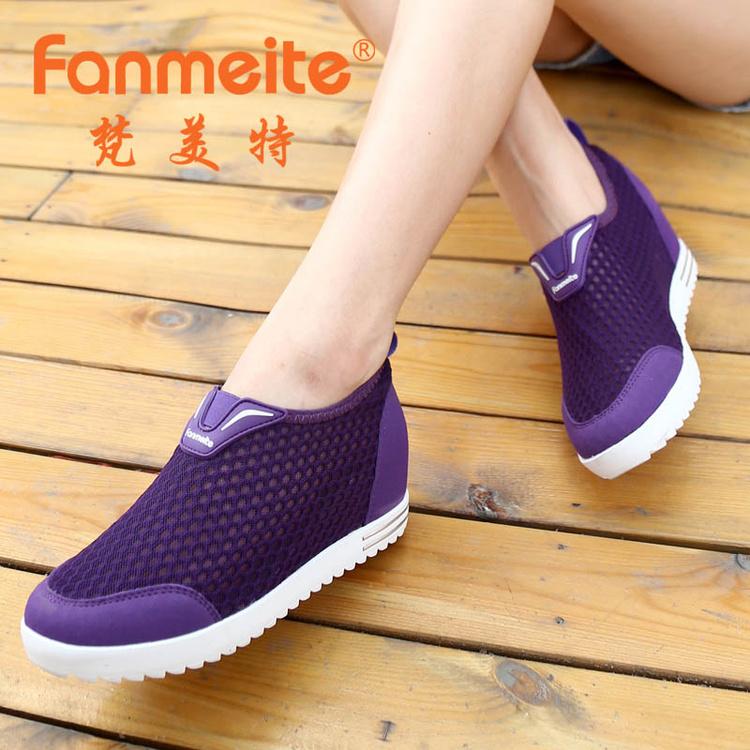 紫色运动鞋 34码紫色玫红色女网鞋夏季款隐形内增高7厘米镂空休闲网面运动鞋_推荐淘宝好看的紫色运动鞋