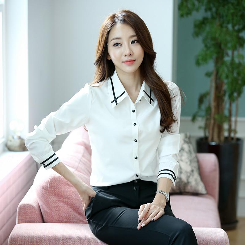 白衬衫 雪纺白衬衫女长袖2016秋冬新款寸衫大码修身职业打底衬衣加绒加厚_推荐淘宝好看的女白衬衫