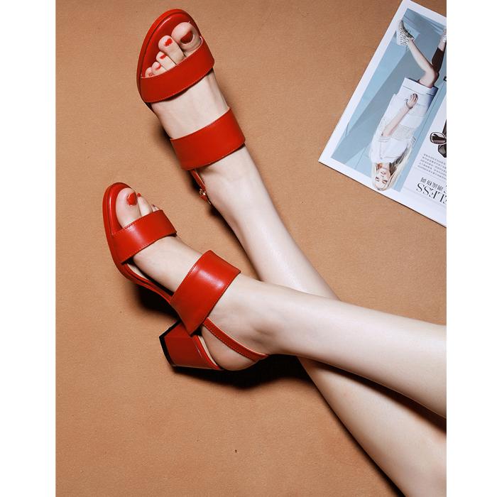 红色罗马鞋 2017夏季新款一字扣带凉鞋女粗跟中跟真皮露趾红色简约罗马女凉鞋_推荐淘宝好看的红色罗马鞋