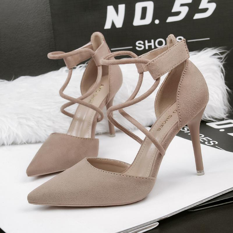 粉红色凉鞋 女鞋细跟绒面NO.55 Shoes超高跟黑色粉红色卡其色包头灰色凉鞋_推荐淘宝好看的粉红色凉鞋
