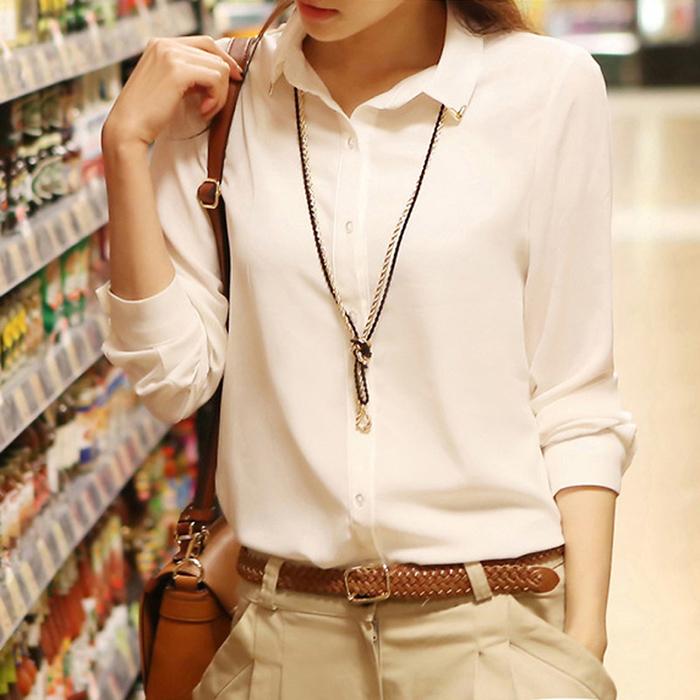 长袖女衬衫 秋冬新款显瘦修身百搭白色雪纺衬衣上衣职业加绒加厚长袖衬衫女_推荐淘宝好看的女长袖女衬衫