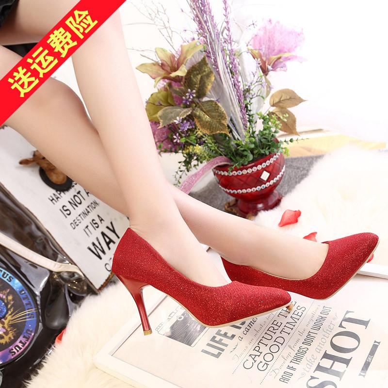 红色高跟鞋 大码婚鞋41-43新娘鞋红色性感浅口细跟高跟鞋尖头单鞋大号女鞋子_推荐淘宝好看的红色高跟鞋
