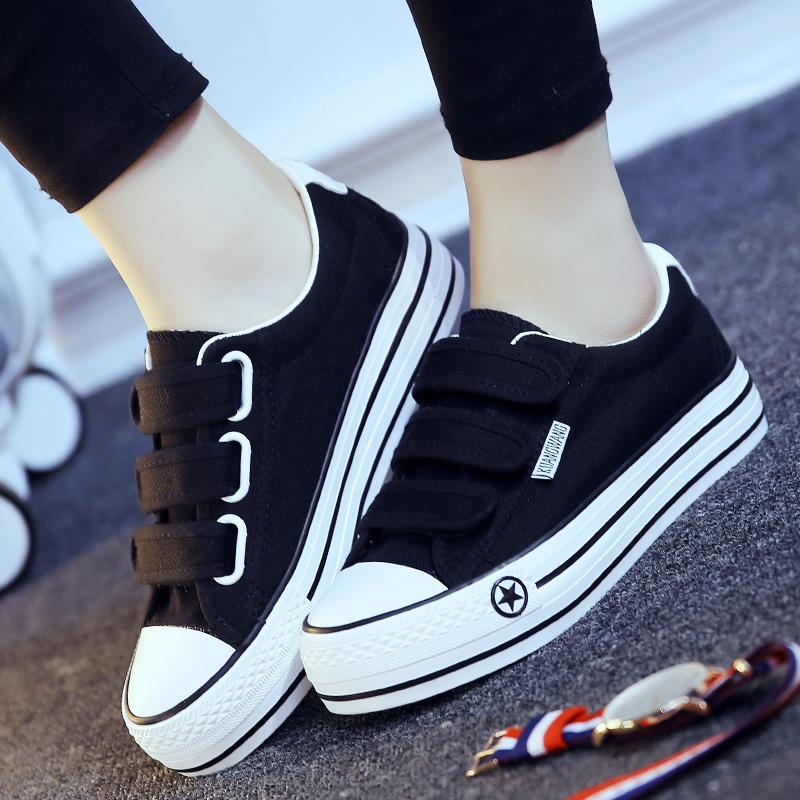 黑色帆布鞋 秋魔术贴帆布鞋女松糕跟黑色布鞋韩版女鞋休闲鞋平跟鞋子学生板鞋_推荐淘宝好看的黑色帆布鞋