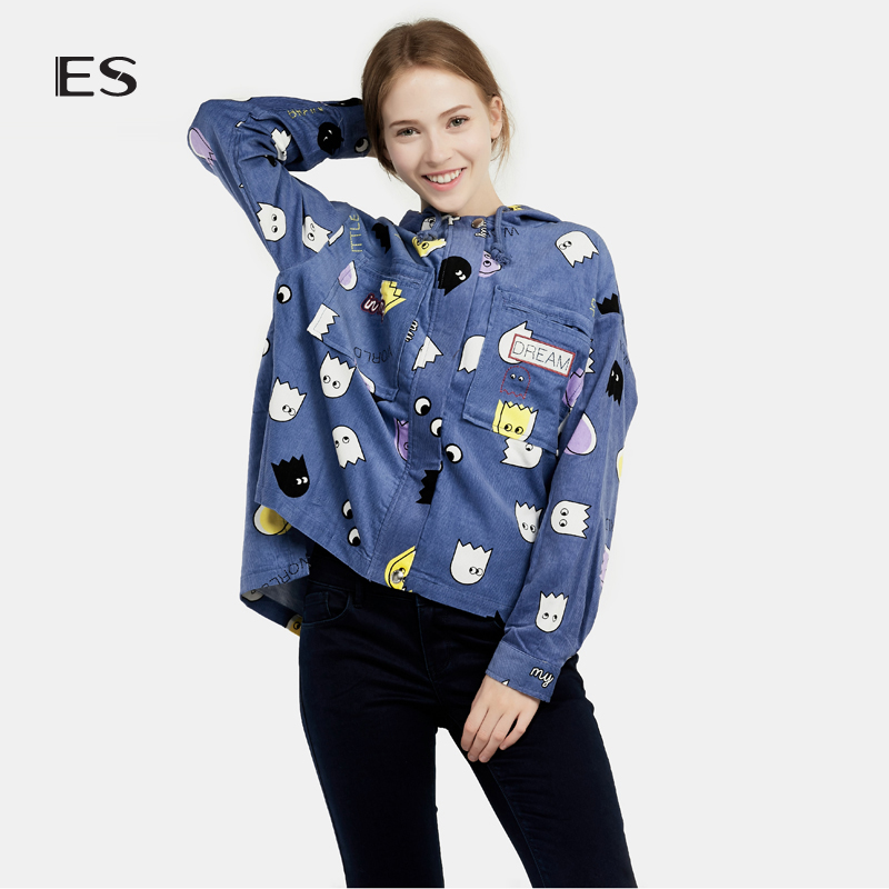艾格女装 艾格 ES 冬季时尚百搭印花连帽休闲衬衫外套16031419363_推荐淘宝好看的艾格