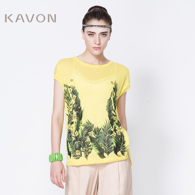 印花短袖针织衫 Kavon卡汶 设计师品牌夏 亚麻印花圆领蝙蝠短袖针织镂空套头衫女_推荐淘宝好看的女印花短袖针织衫