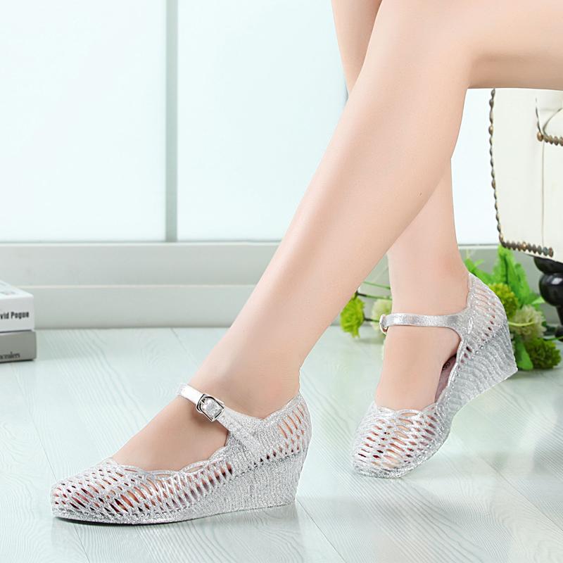 果冻坡跟鞋 新款夏季 女士坡跟鸟巢鞋坡跟鸟巢果冻休闲女鞋女凉鞋透明鞋_推荐淘宝好看的果冻坡跟鞋