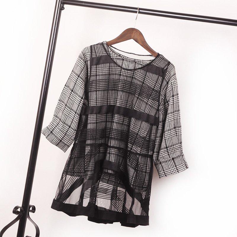 套头卫衣两件套 2016初秋新品套头衫卫衣+蕾丝网纱罩衫两件套七分袖复古格子女装_推荐淘宝好看的女套头卫衣两件套