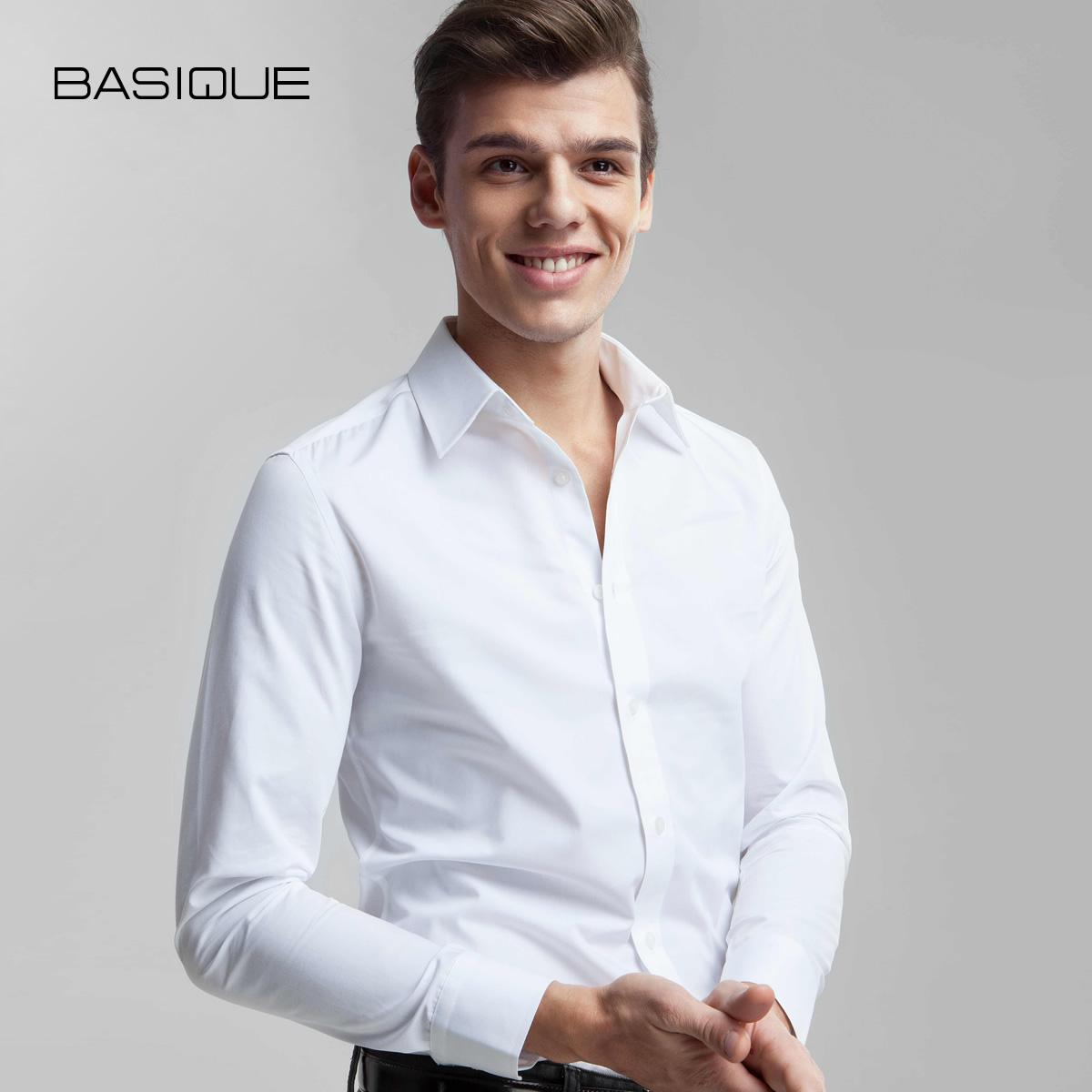 黑色衬衫 2件199 元本BASIQUE修身长袖衬衫男士秋季衬衣商务白色潮免烫正装_推荐淘宝好看的黑色衬衫