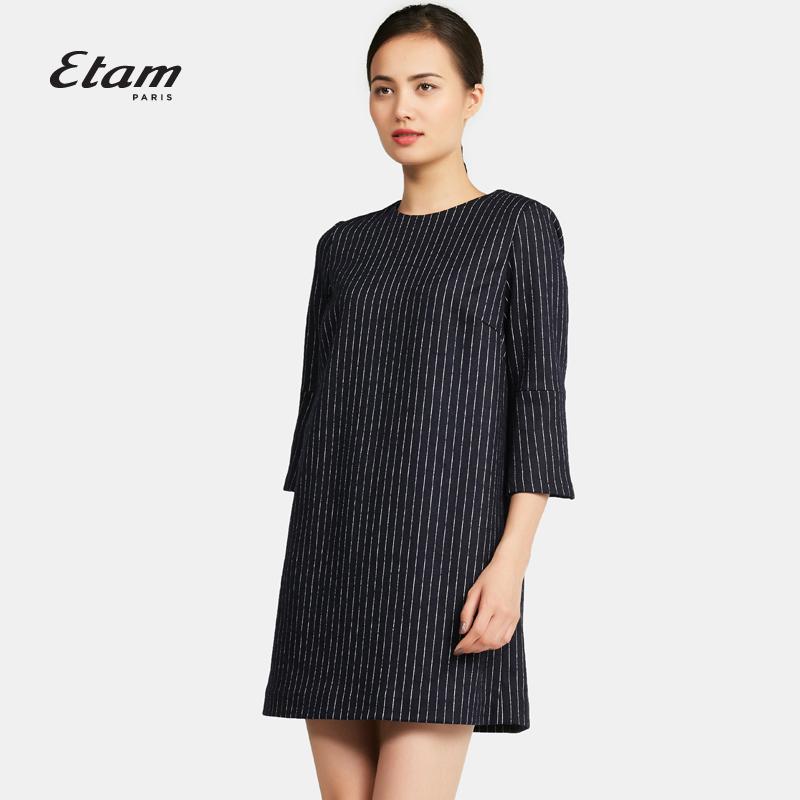 艾格连衣裙 艾格 Etam时尚百搭经典条纹直筒连身裙16012253040_推荐淘宝好看的艾格连衣裙