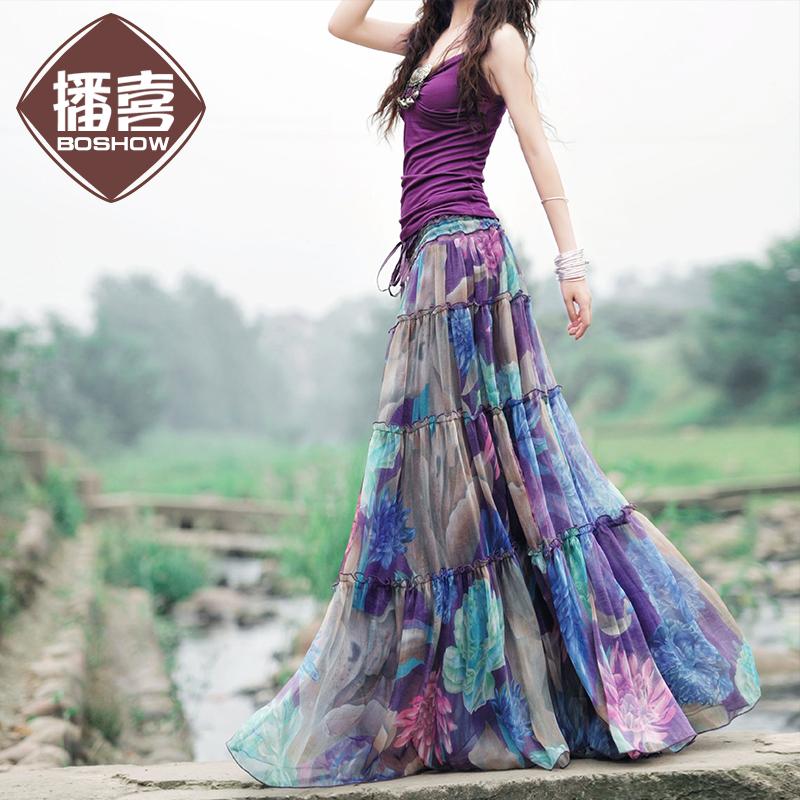 女式半身长裙 播喜正品 粉紫色+蓝紫色雪纺印花超大摆半身长裙 两穿长裙 紫罗兰_推荐淘宝好看的半身长裙