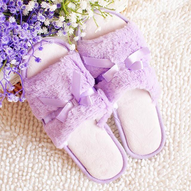 紫色鱼嘴鞋 韩版蝴蝶结马卡龙糖果紫色蕾丝毛绒鱼嘴拖孕妇家居防滑地板拖鞋女_推荐淘宝好看的紫色鱼嘴鞋