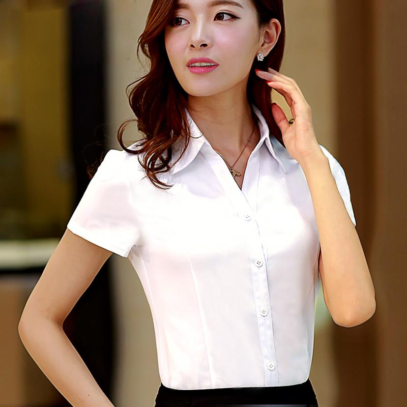 白衬衫 衣阳指新白衬衫女夏短袖职业装工作服正装工装大码半袖衬衣女装ol_推荐淘宝好看的女白衬衫