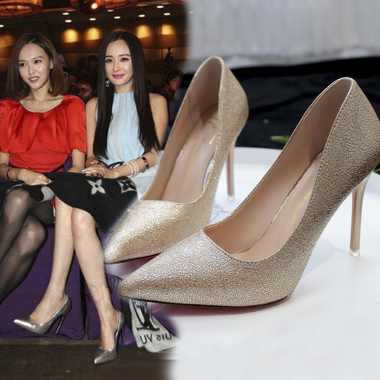 红色高跟鞋 2017春新款银色尖头高跟鞋细跟红色宴会伴娘婚纱新娘婚鞋金色单鞋_推荐淘宝好看的红色高跟鞋