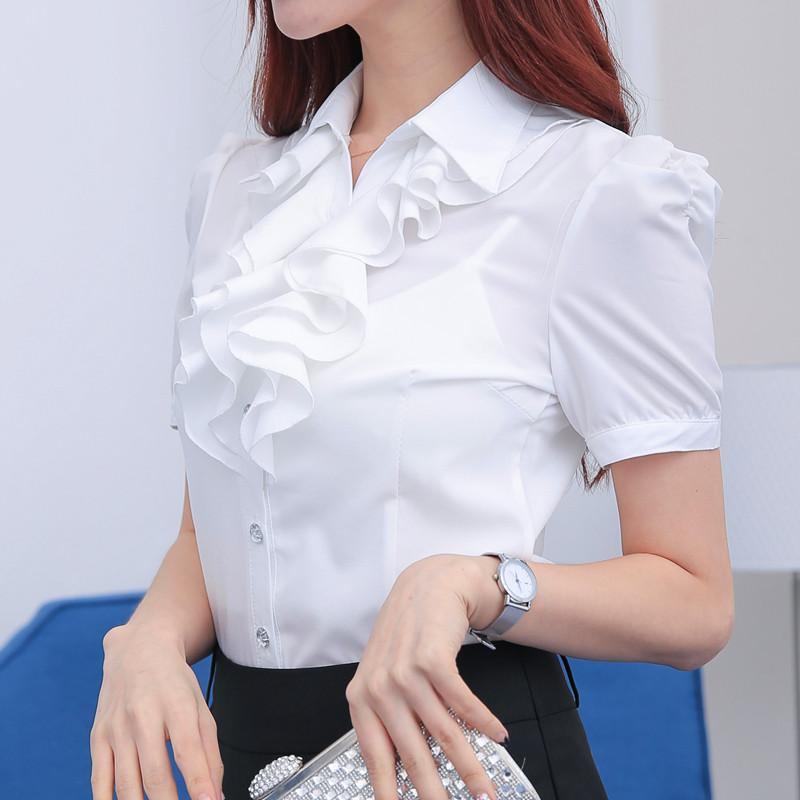 白色雪纺衬衫 夏季韩版V领荷叶花边白色衬衫女短袖 职业装修身打底雪纺衫工装_推荐淘宝好看的女白色雪纺衬衫