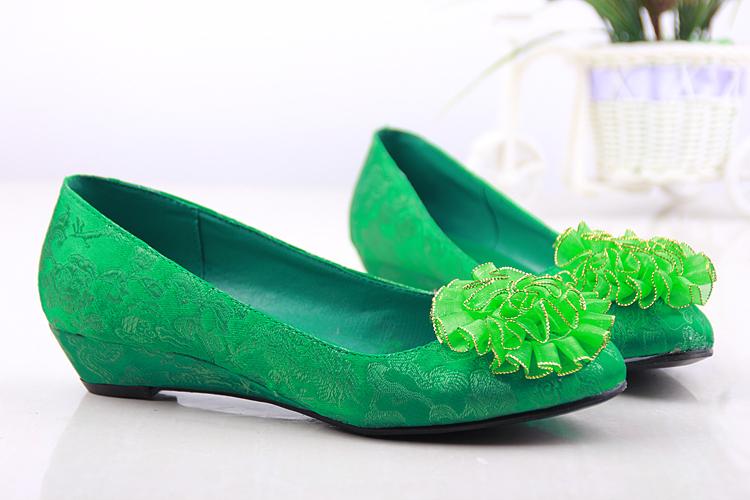 绿色坡跟鞋 绿色婚鞋夏新娘鞋秋婚礼鞋坡跟低跟平底绿鞋单鞋孕妇鞋大码女鞋_推荐淘宝好看的绿色坡跟鞋