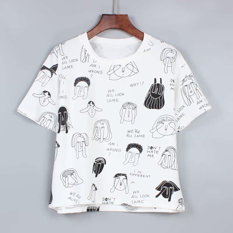 手绘白t恤 夏季女装韩版个性趣味手绘漫画T恤女短款上衣卡通印花学生短袖潮_推荐淘宝好看的女手绘白t恤