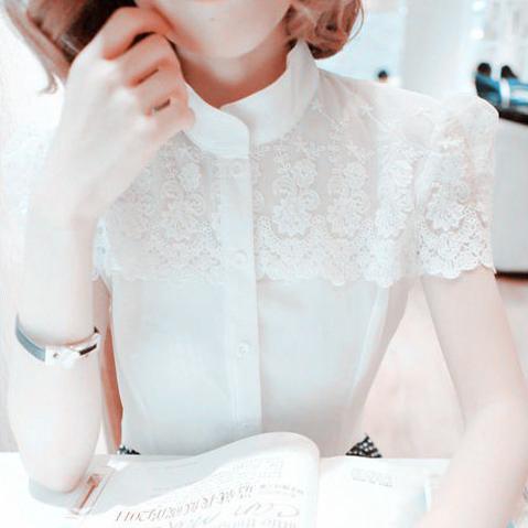 白色雪纺衬衫 夏季拼接蕾丝雪纺白衬衫衬衣女修身半袖寸衫OL工装短袖上衣职业装_推荐淘宝好看的女白色雪纺衬衫