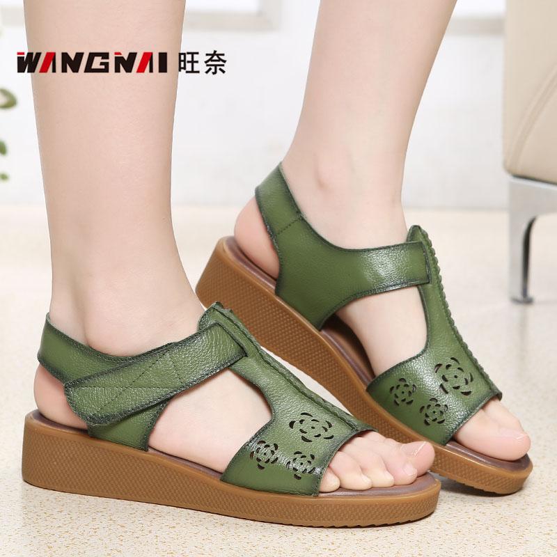 绿色凉鞋 43加大码加肥中老年女鞋绿色真皮凉鞋42品牌妈妈凉皮鞋40特大号41_推荐淘宝好看的绿色凉鞋