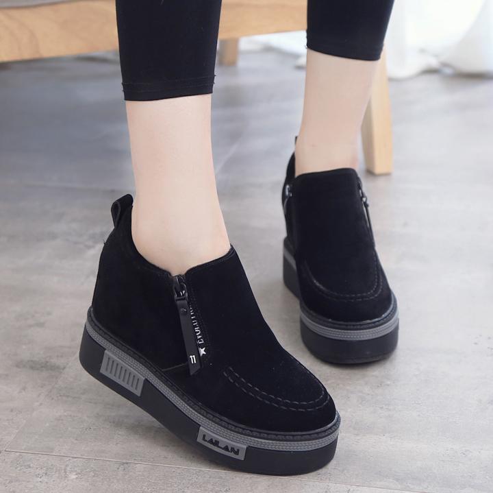 韩版坡跟鞋 冬季韩版隐形内增高8cm运动鞋女高跟坡跟休闲鞋加绒加棉松糕鞋潮_推荐淘宝好看的韩版坡跟鞋