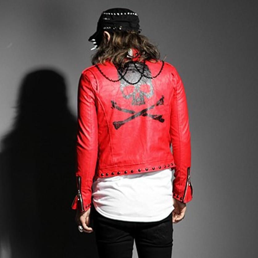 男士朋克皮衣 新款舞台装男士外套 韩版朋克修身时尚个性水洗皮衣男 潮_推荐淘宝好看的男朋克皮衣