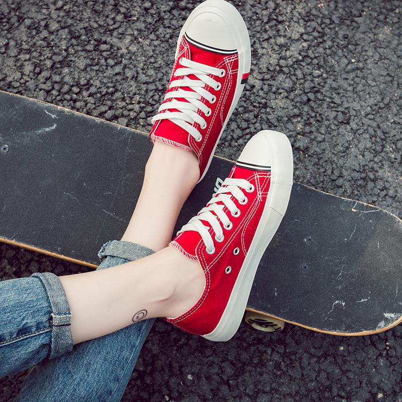 红色帆布鞋 夏季新款女生布鞋韩版百搭系带球鞋黑色红色休闲鞋板鞋学生帆布鞋_推荐淘宝好看的红色帆布鞋