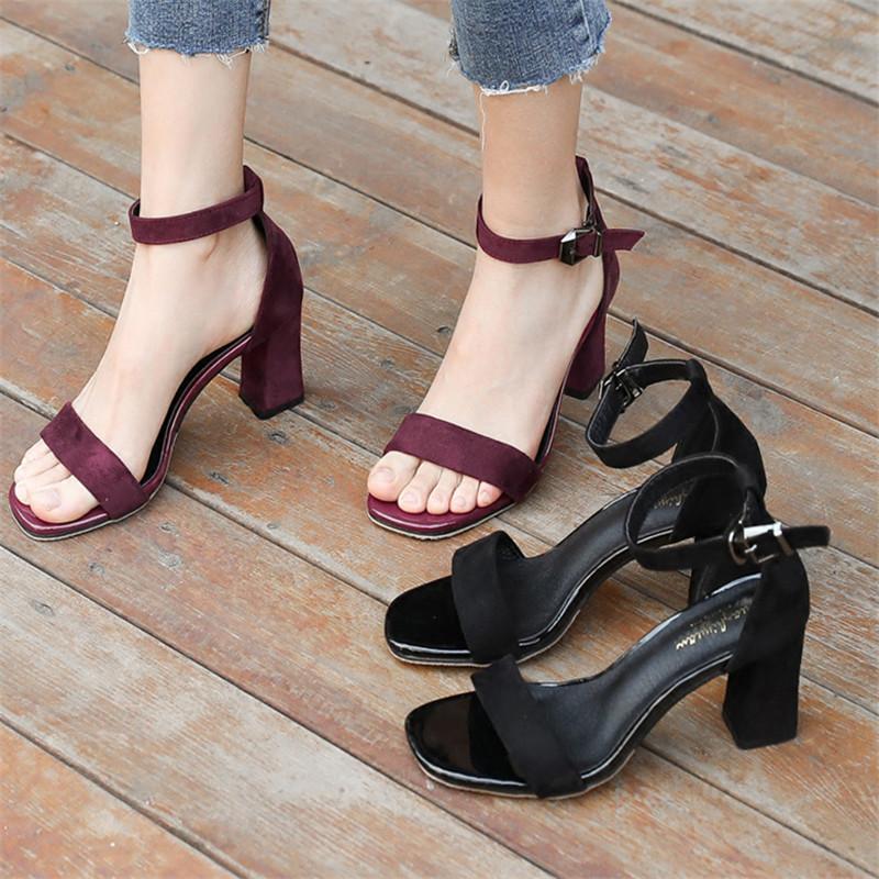 罗马高跟鞋 凉鞋女夏中跟高跟鞋2017新款夏天百搭一字扣粗跟女士罗马凉鞋女鞋_推荐淘宝好看的女罗马高跟鞋