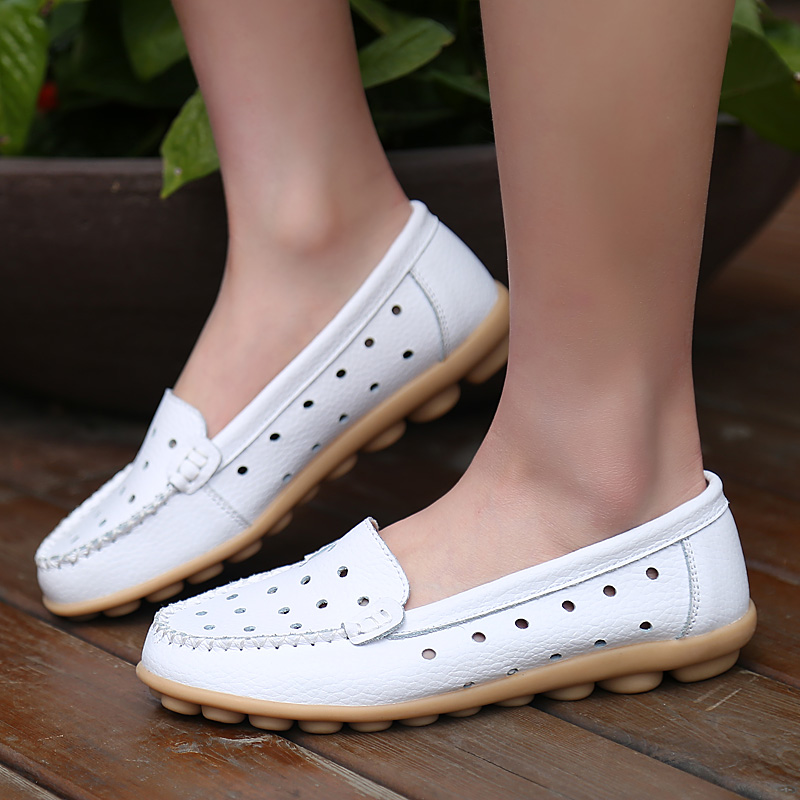 白色豆豆鞋 夏季真皮镂空小白鞋休闲豆豆鞋平底女鞋孕妇单鞋妈妈鞋白色护士鞋_推荐淘宝好看的白色豆豆鞋