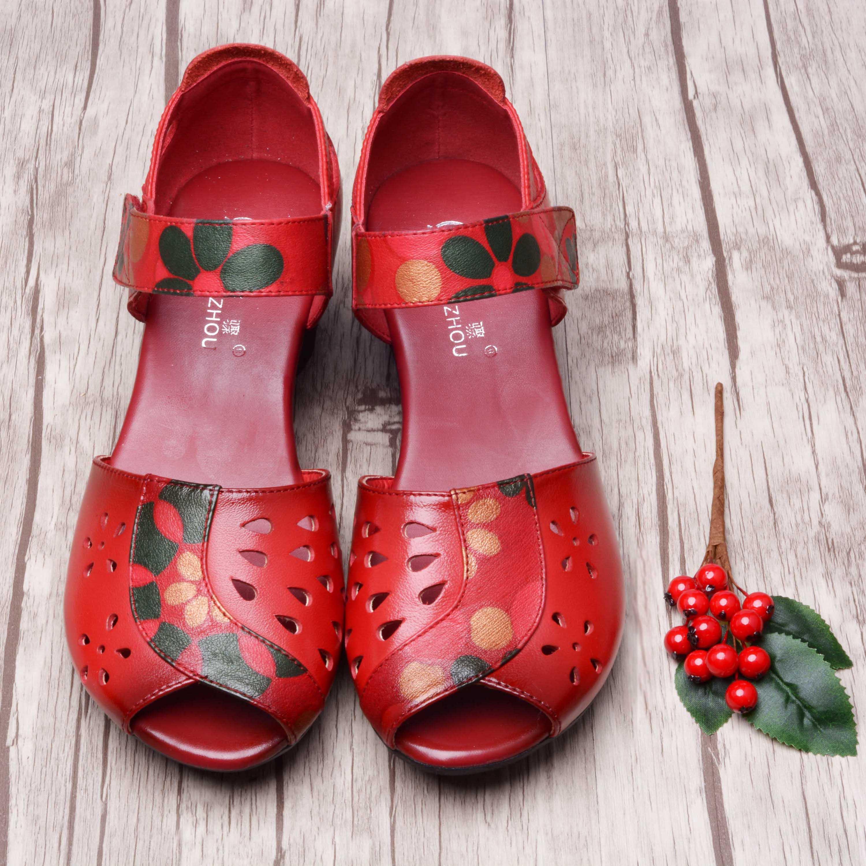 红色鱼嘴鞋 中年女士凉鞋鱼嘴中跟妈妈鞋夏季真皮软底红色皮鞋粗跟复古女鞋子_推荐淘宝好看的红色鱼嘴鞋