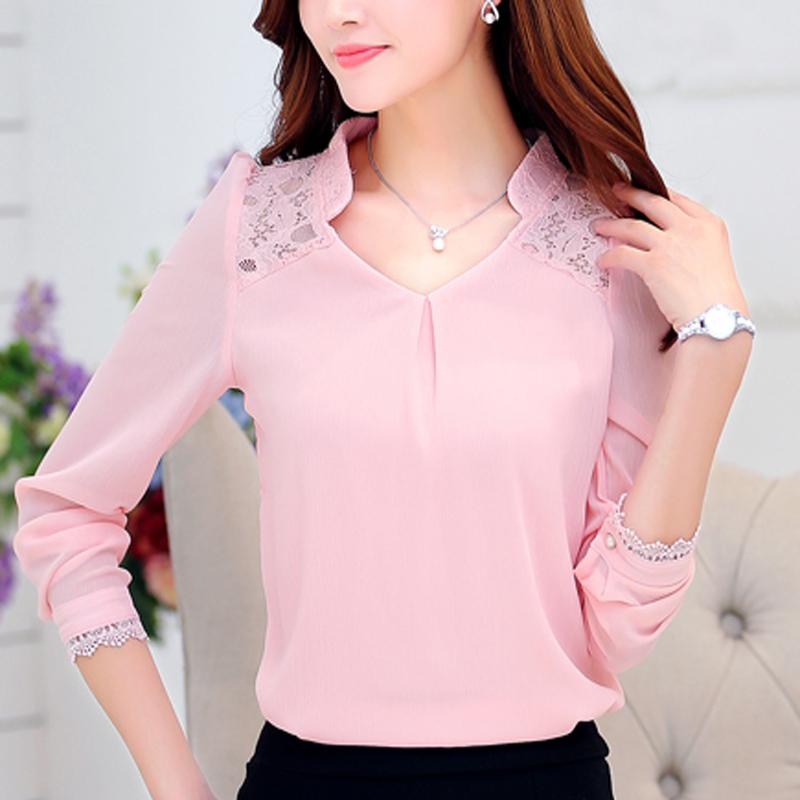 粉红色T恤 雪纺衫女士长袖新款2017春款蕾丝打底衫短款宽松上衣大码女装T恤_推荐淘宝好看的粉红色T恤