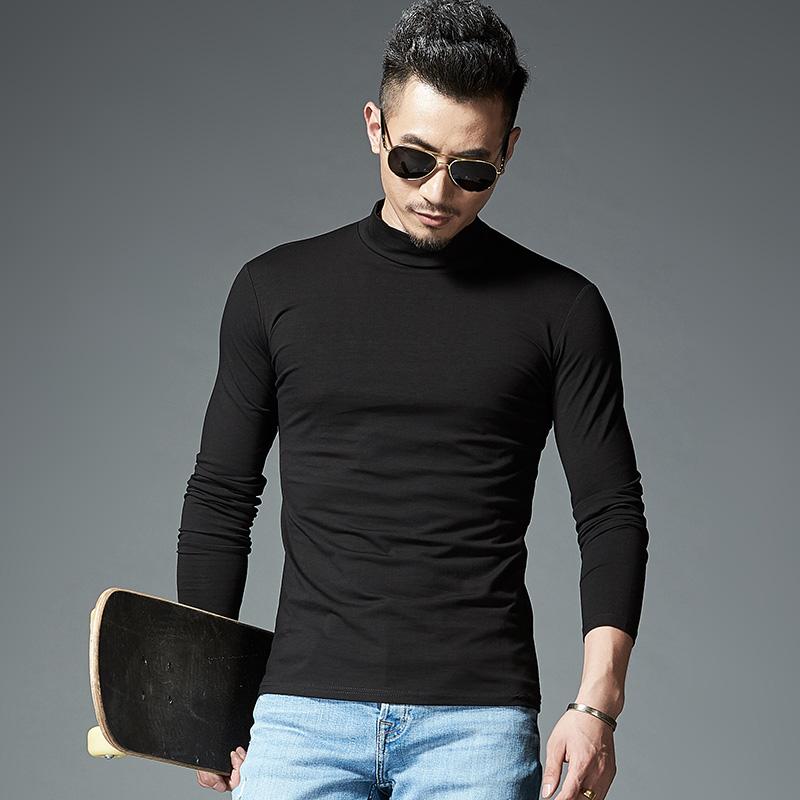 黑色T恤 天天特价纯棉净面静版男士长袖t恤丅血全白全黑内搭半高领男衫冬_推荐淘宝好看的黑色T恤