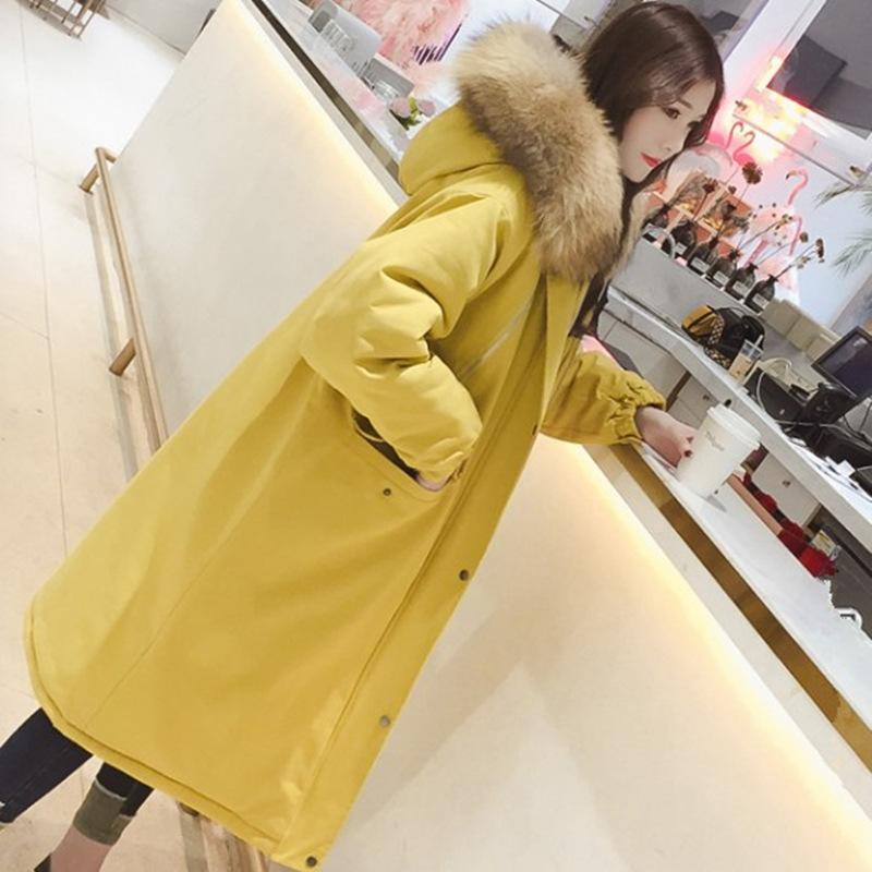黄色羽绒服 冬季2017新款大貉子毛领工装羽绒服女中长款宽松过膝保暖加厚外套_推荐淘宝好看的黄色羽绒服