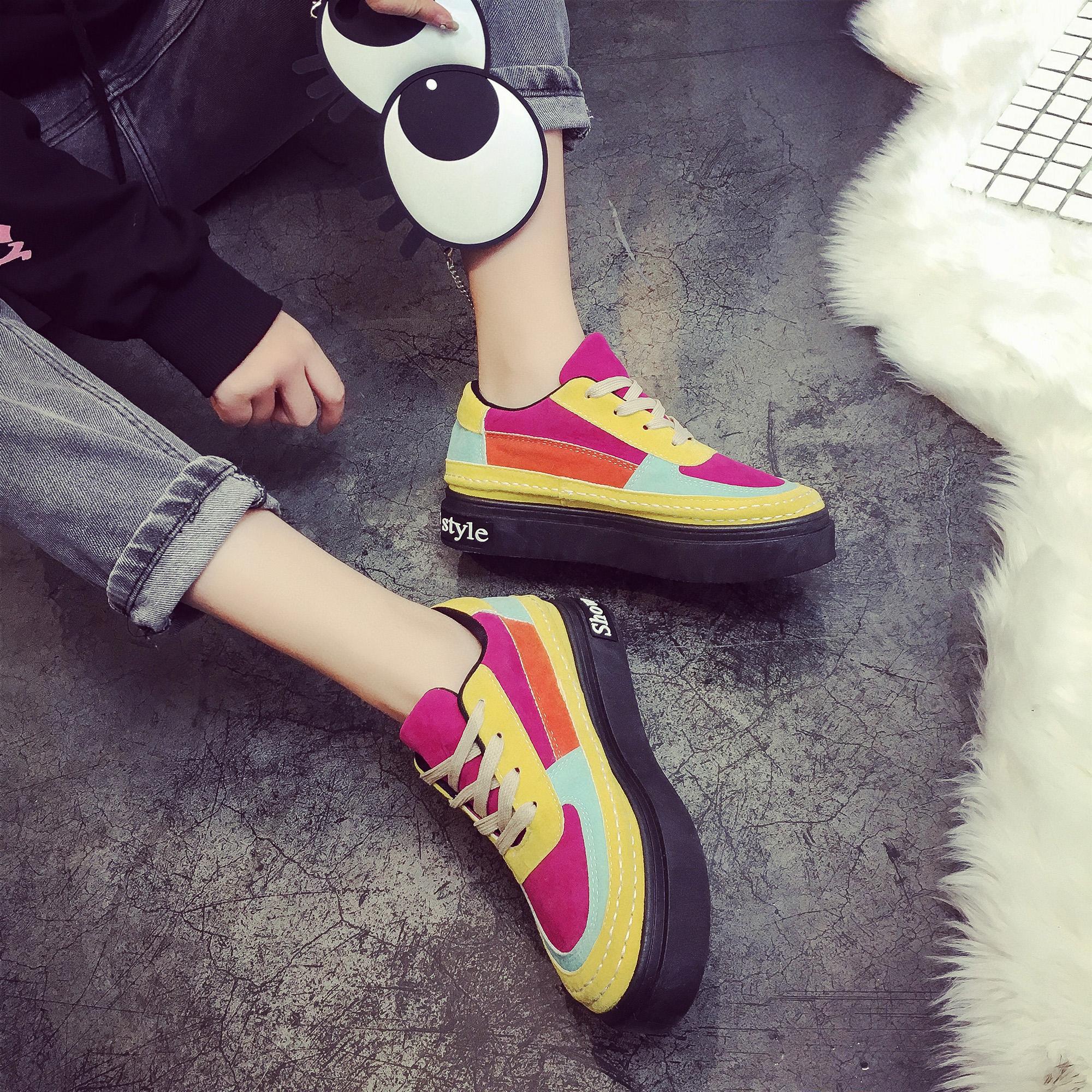 黄色平底鞋 冬季黑白拼色板鞋女2017潮学生韩版厚底保暖平底单鞋字母百搭黄色_推荐淘宝好看的黄色平底鞋