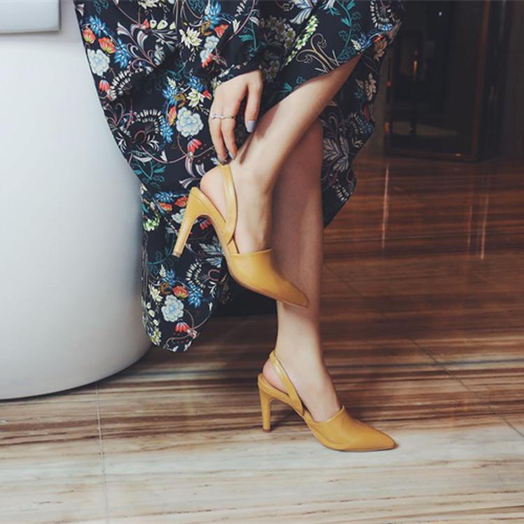 高跟凉鞋 韩版2017春季新款欧美尖头细跟高跟凉鞋时尚性感舒适镂空单鞋女鞋_推荐淘宝好看的女高跟凉鞋