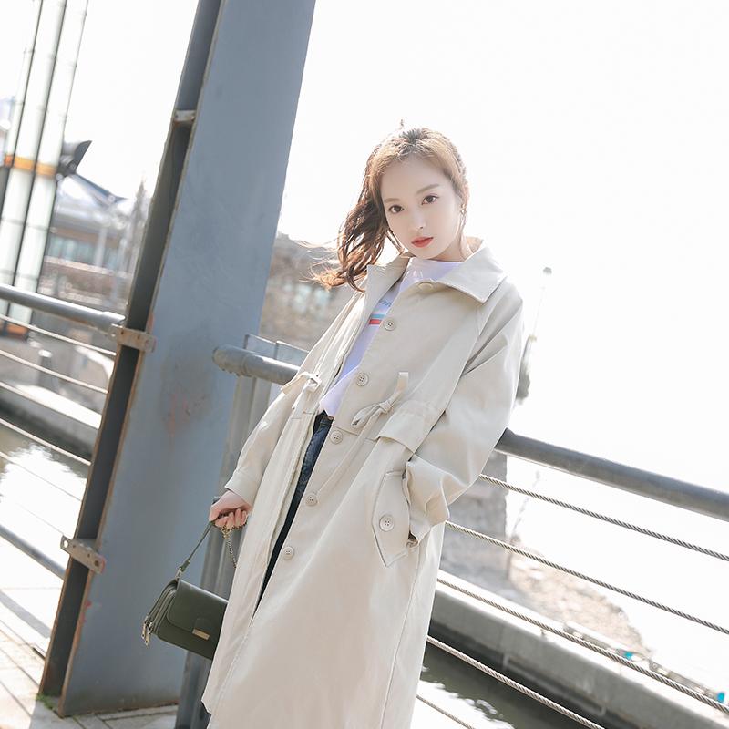 白色风衣 夏奈可可甜美修身风衣女中长款韩版春季2017新款学生百搭显瘦外套_推荐淘宝好看的白色风衣