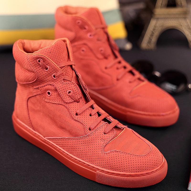 红色高帮鞋 春季欧洲站高帮板鞋男鞋大码潮鞋真皮男士运动休闲鞋橙色西瓜红色_推荐淘宝好看的红色高帮鞋