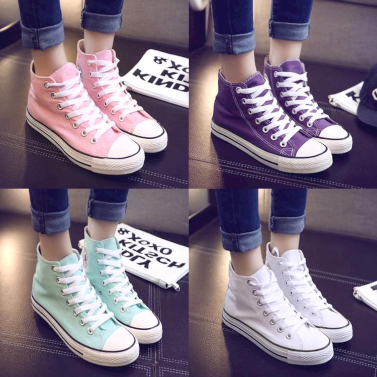 紫色帆布鞋 高帮平底女鞋韩版糖果色帆布鞋粉色绿色紫色高帮女学生帆布鞋单鞋_推荐淘宝好看的紫色帆布鞋