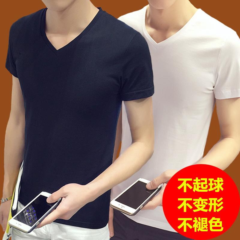 粉红色T恤 夏季男士短袖T恤男v领修身半袖打底衫韩版学生体恤上衣潮男装小衫_推荐淘宝好看的粉红色T恤