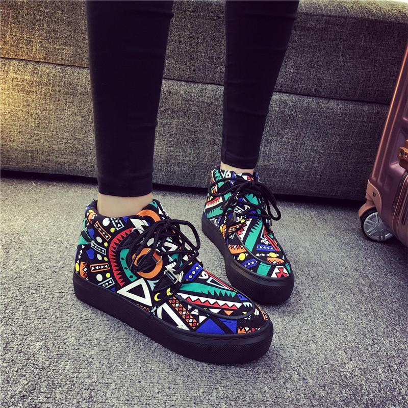 涂鸦帆布鞋 2016冬季涂鸦帆布鞋女高帮加绒棉鞋厚底松糕跟学生韩版休闲鞋板鞋_推荐淘宝好看的女涂鸦帆布鞋