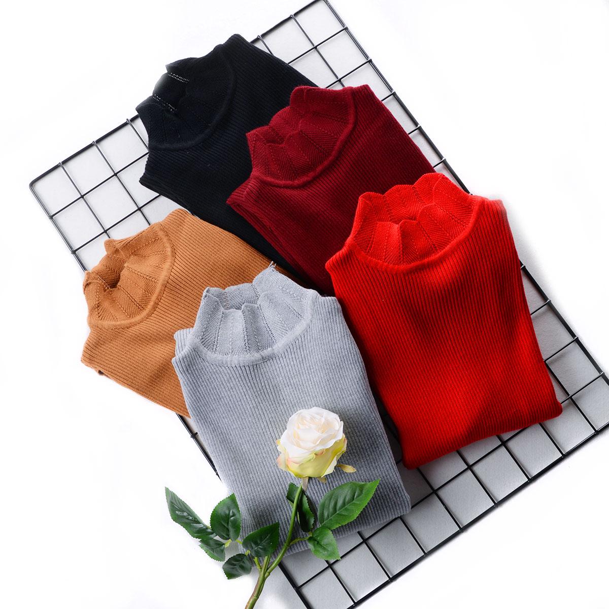 红色针织衫 +C3 秋冬新白色毛衣女修身套头短款长袖半高领百搭加厚打底针织衫_推荐淘宝好看的红色针织衫