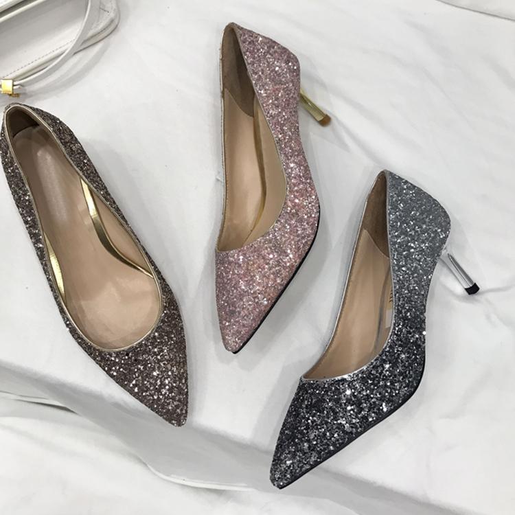 粉红色高跟鞋 婚鞋女2017新款渐变色新娘银色高跟鞋细跟亮片伴娘鞋尖头单鞋粉红_推荐淘宝好看的粉红色高跟鞋