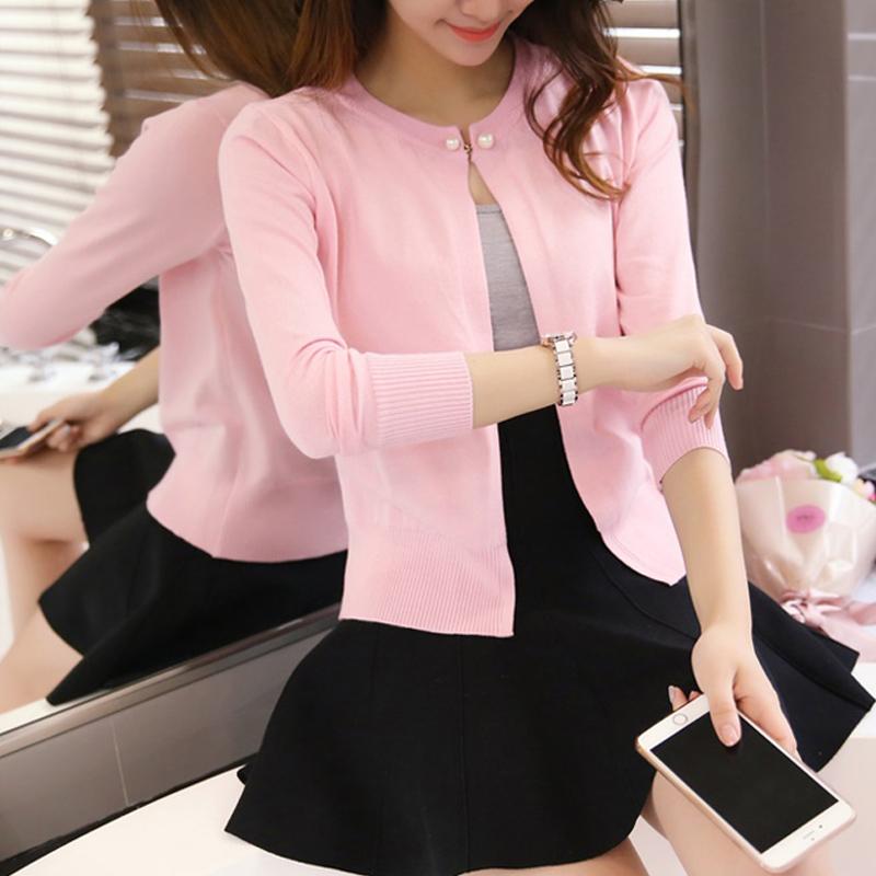 粉红色针织衫 天天特价新款针织衫女薄开衫外搭毛衣小外套修身防晒衫披肩_推荐淘宝好看的粉红色针织衫