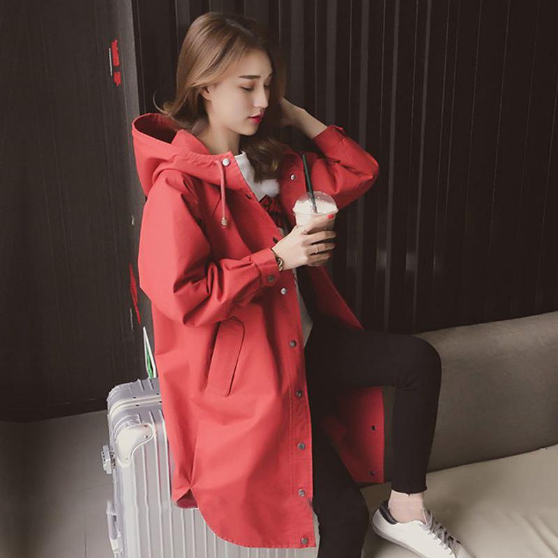 红色风衣 2017秋装新款潮韩版春季学生宽松薄款外套中长款小个子风衣女春秋_推荐淘宝好看的红色风衣