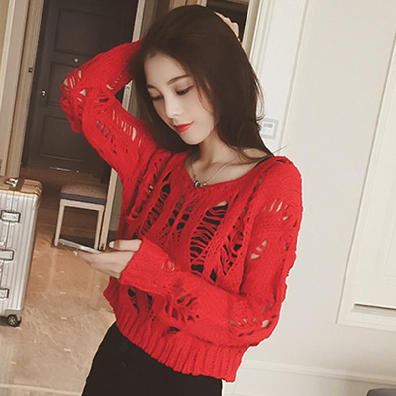 镂空针织衫 2017春装新品韩版女装长袖短款镂空圆领显瘦大红色套头针织毛衫_推荐淘宝好看的镂空针织衫