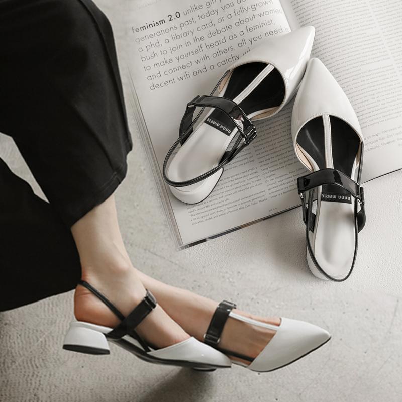 白色凉鞋 2017新款凉鞋女夏韩版T带尖头平底平跟包头白色单鞋小码31 32 33_推荐淘宝好看的白色凉鞋