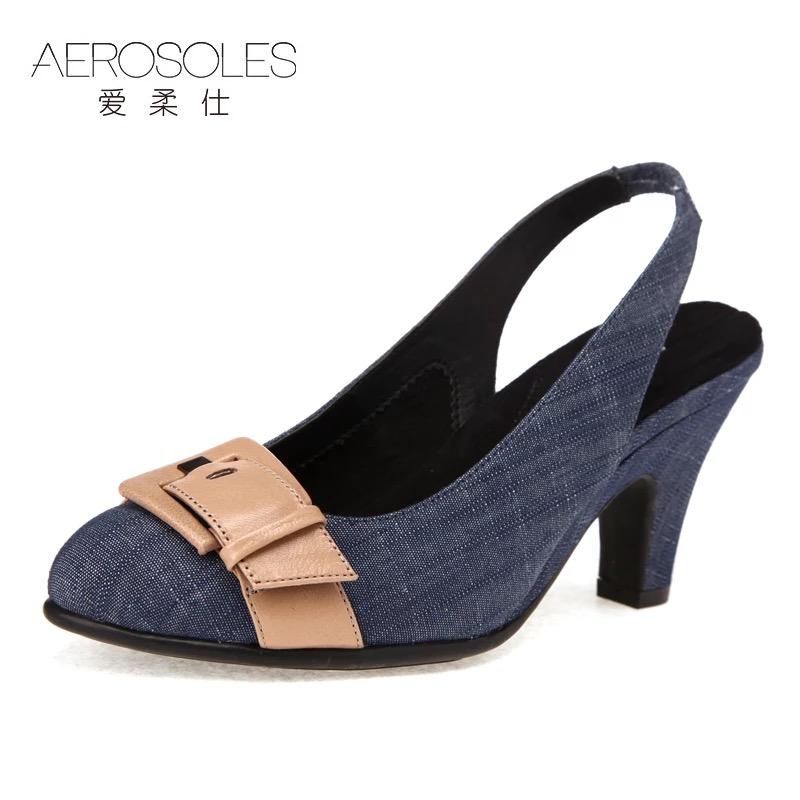 凉鞋 【限时抢】爱柔仕AEROSOLES专柜 牛仔布真皮优雅高跟女 凉鞋_推荐淘宝好看的女凉鞋