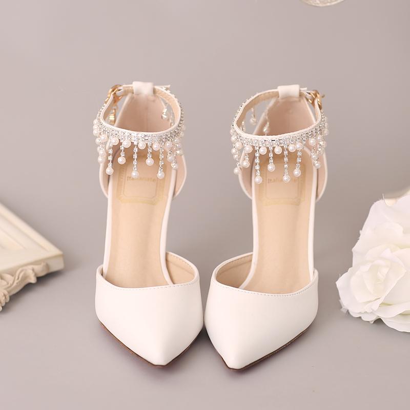 红色凉鞋 新款白色珍珠水钻新娘鞋红色尖头超高跟婚鞋一字腕带细跟女凉鞋_推荐淘宝好看的红色凉鞋