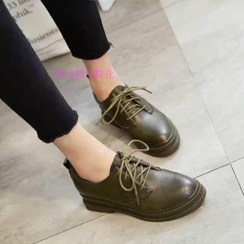 绿色坡跟鞋 新款百搭深口圆头女鞋系带厚底休闲鞋绿色简约坡跟单鞋 不退不换_推荐淘宝好看的绿色坡跟鞋