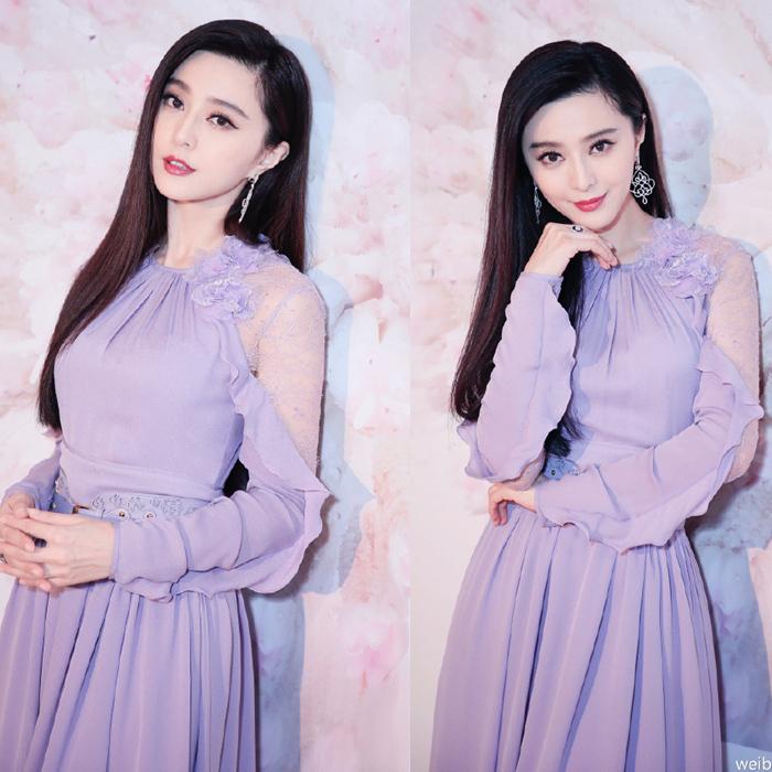 紫色连衣裙 范冰冰明星同款甜美女神紫色气质露肩长裙蕾丝拼接开叉礼服连衣裙_推荐淘宝好看的紫色连衣裙