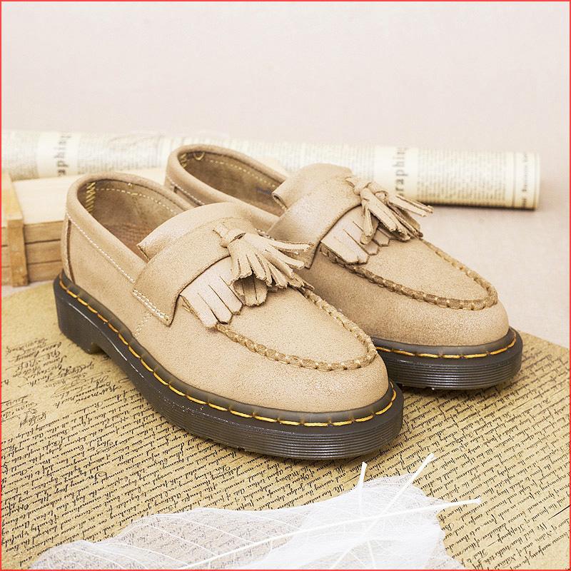 黄色平底鞋 马丁靴正品英伦复古磨砂黄色平底学院流苏豆豆真皮低帮女潮马丁鞋_推荐淘宝好看的黄色平底鞋